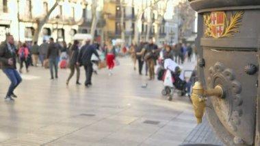 Barcelona. A Catalonia. 10 február 2018. A Les barangolások Boulevard a város központjában a Ramblason