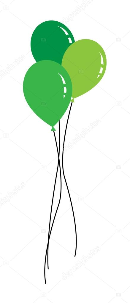 colored Balloon with ribbons