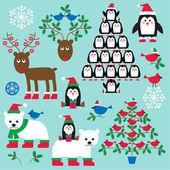 Fotografie Satz von Weihnachten Tiere und Bäume