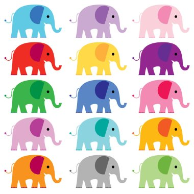 Colorful elephant icons set. vector illustration clip art vector