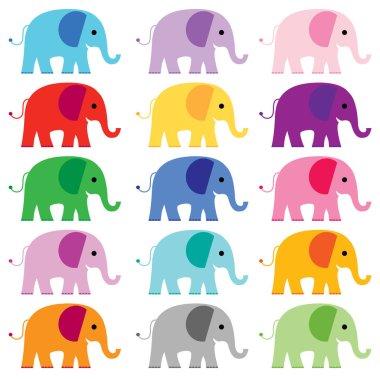 colorful elephant icons set