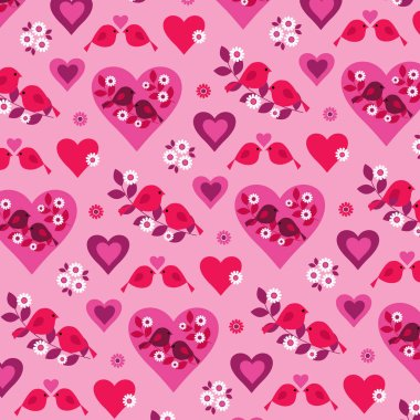 valentine pattern with birds and cages