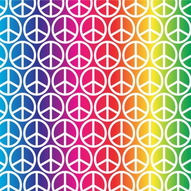 pattern of rainbow peace signs