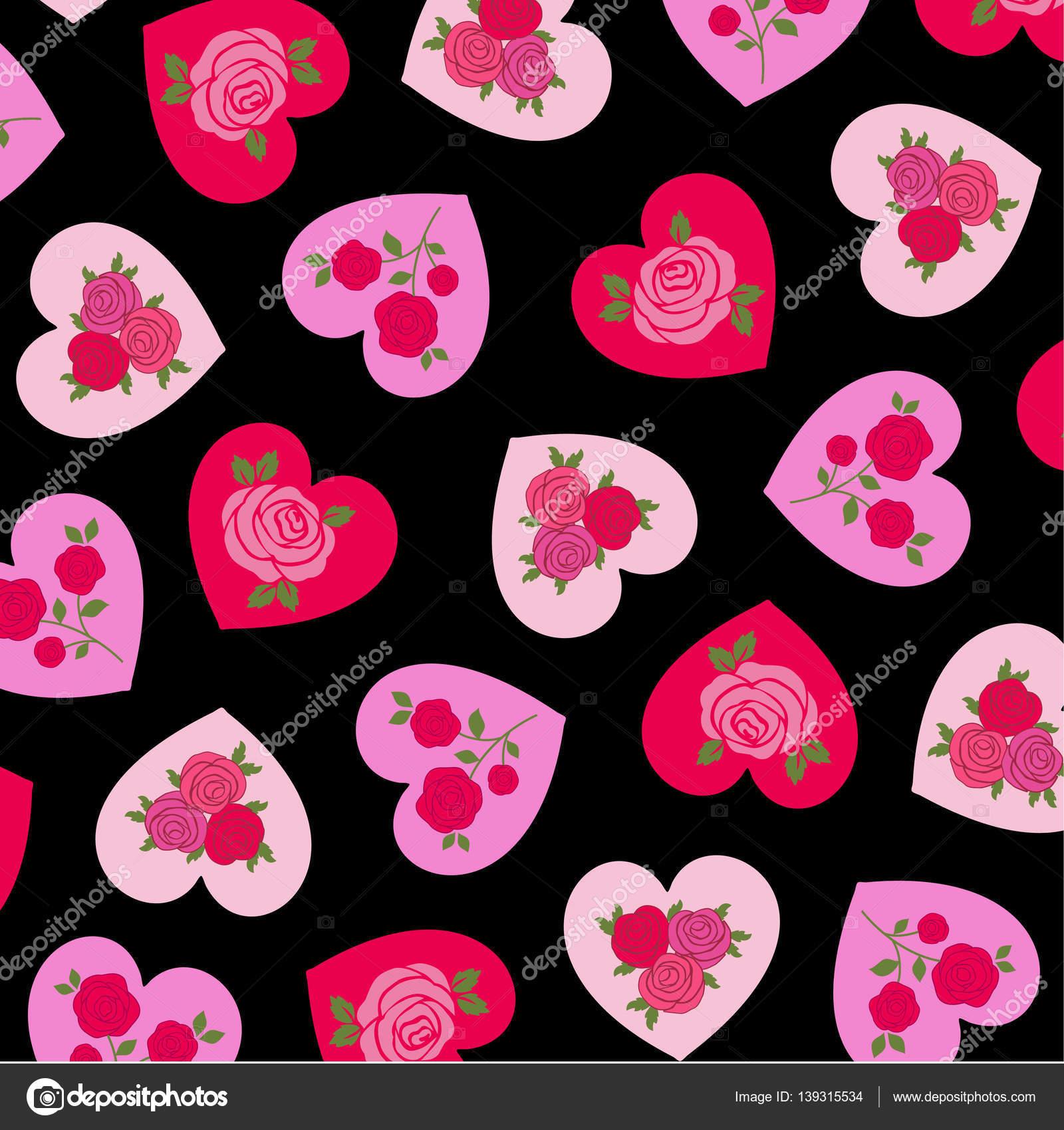 patrn de corazones rosas vector de stock