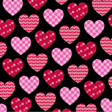 Vector patterned valentine hearts on black background stock vector