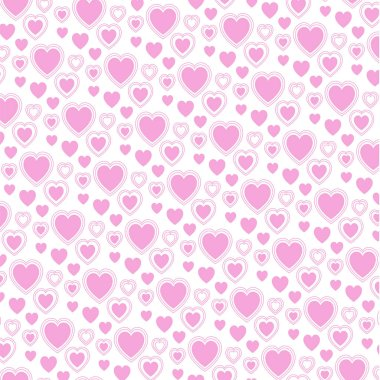 Vector valentine pink heart pattern on white background stock vector