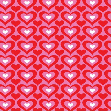 Vector red and white hearts on pink pattern stock vector
