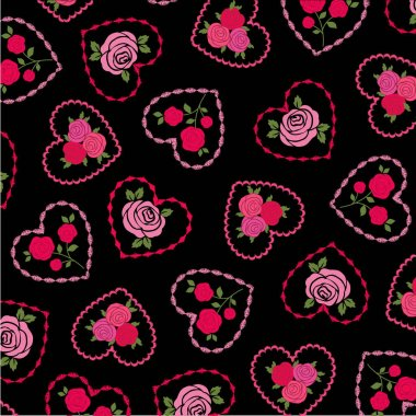 Vector roses on embroidered hearts st valentine day pattern on black background stock vector