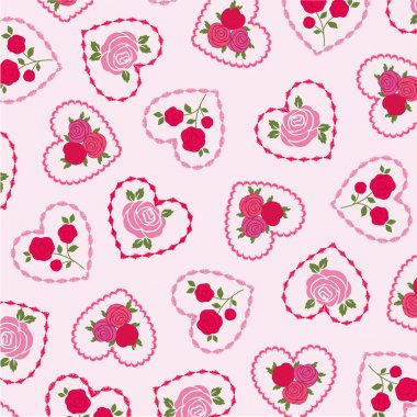 Vector roses on embroidered hearts st valentine day pattern stock vector