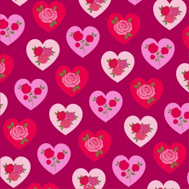 Vector roses on hearts st valentine day pattern stock vector