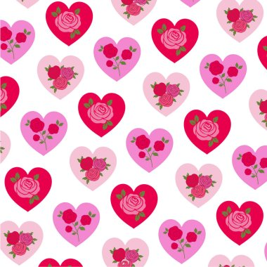 Vector roses on hearts st valentine day pattern on white background stock vector