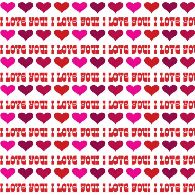 Vector valentine hearts and i love you text pattern stock vector