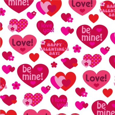 Vector valentine hearts with love text on white background stock vector