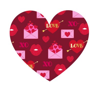 Vector valentine day pattern on heart isolated on white background stock vector