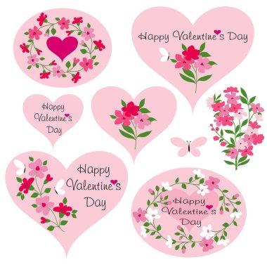 Vector valentine day hearts with flowers and butterflies stock vector