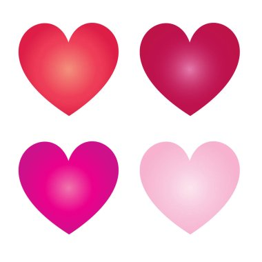 Vector colorful gradient st valentine hearts isolated on white backround stock vector