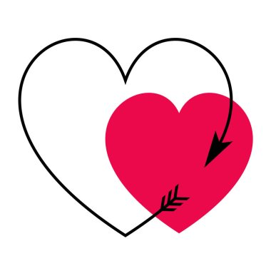 Heart shaped valentine arrow with red heart stock vector