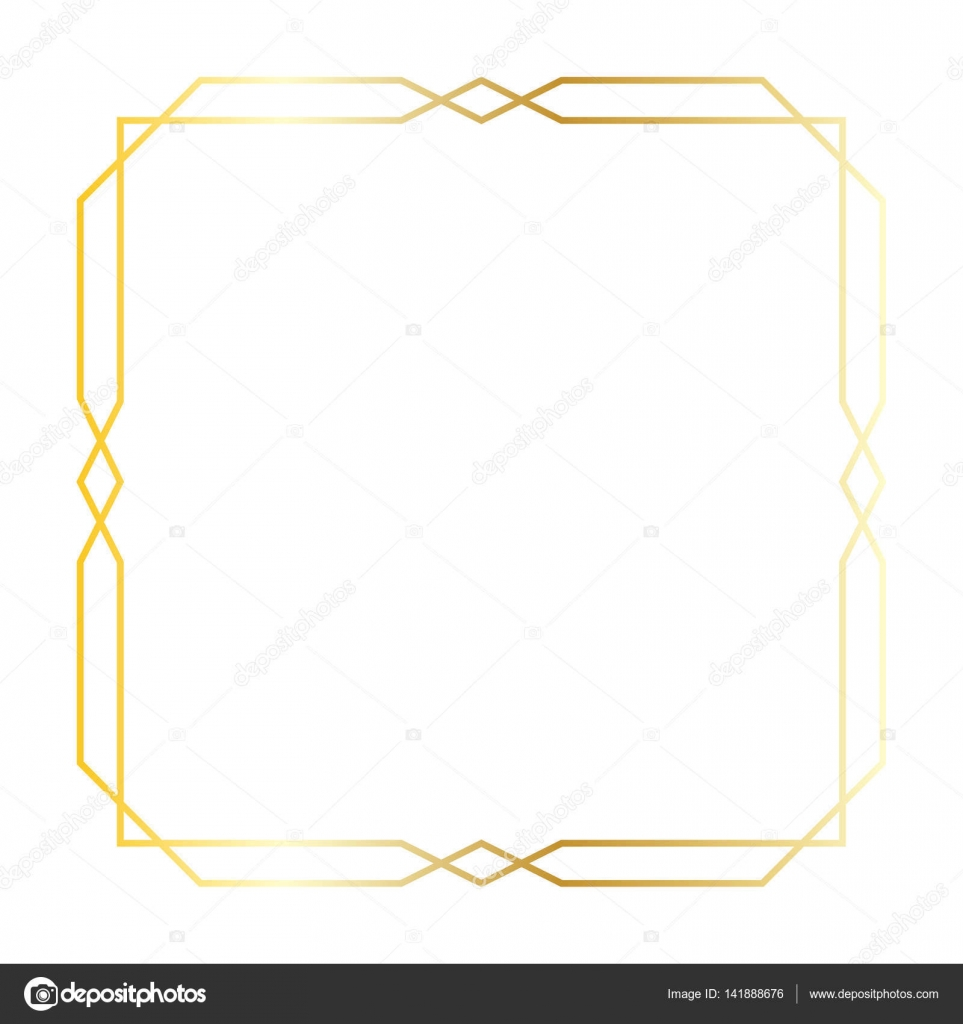 gold art deco square frame stock vector 141888676