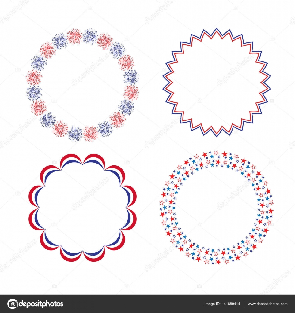 Red White Blue Circle Frames Stock Vector Scrapster 141889414