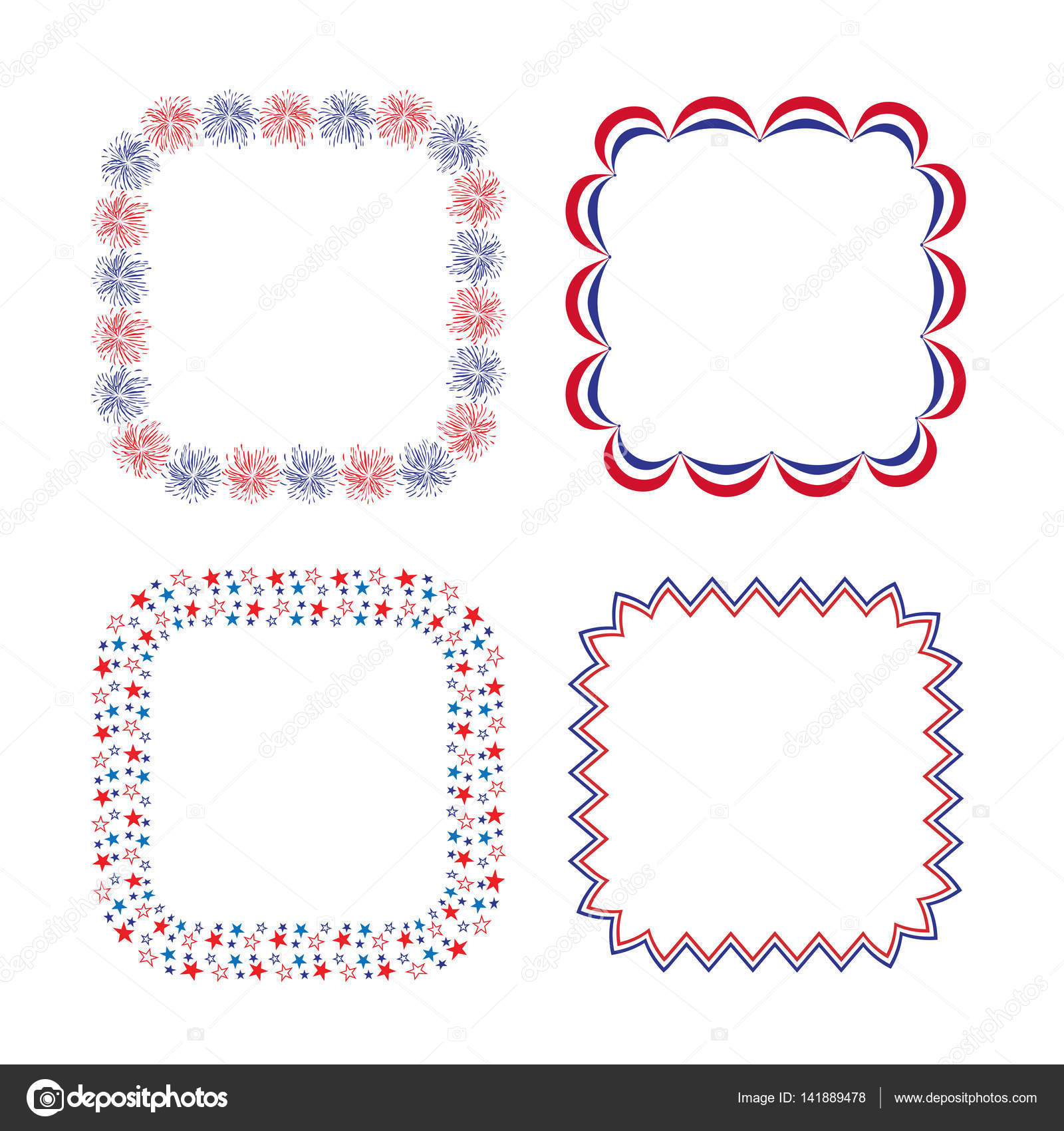 Red White Blue Square Frames Stock Vector Scrapster 141889478