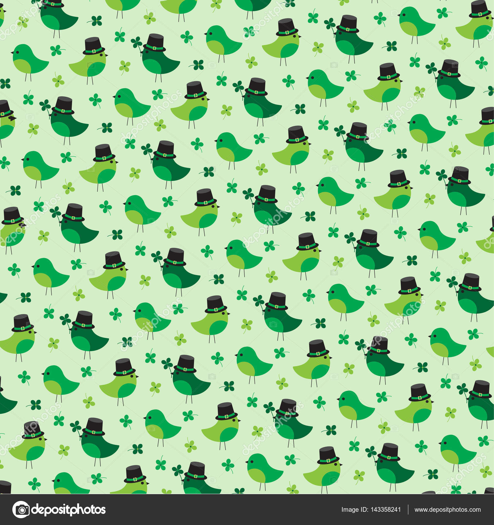 st patricks clover and birds pattern u2014 stock vector scrapster