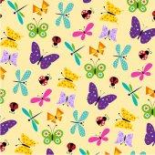 Fotografia Reticolo di farfalle e coccinelle