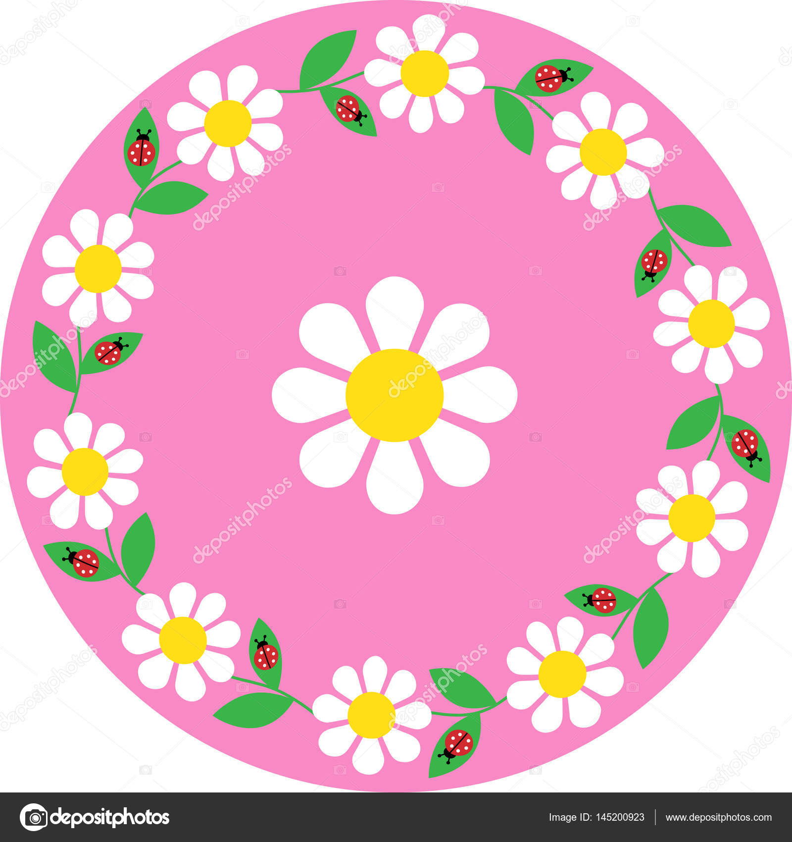 marco de Círculo Daisy mariquita — Archivo Imágenes Vectoriales ...