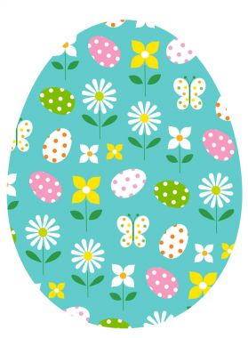 blue easter egg with flowers