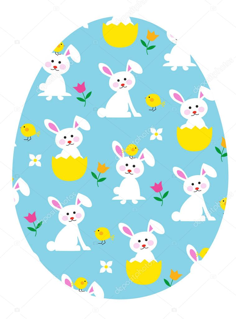 easter egg with bunnies