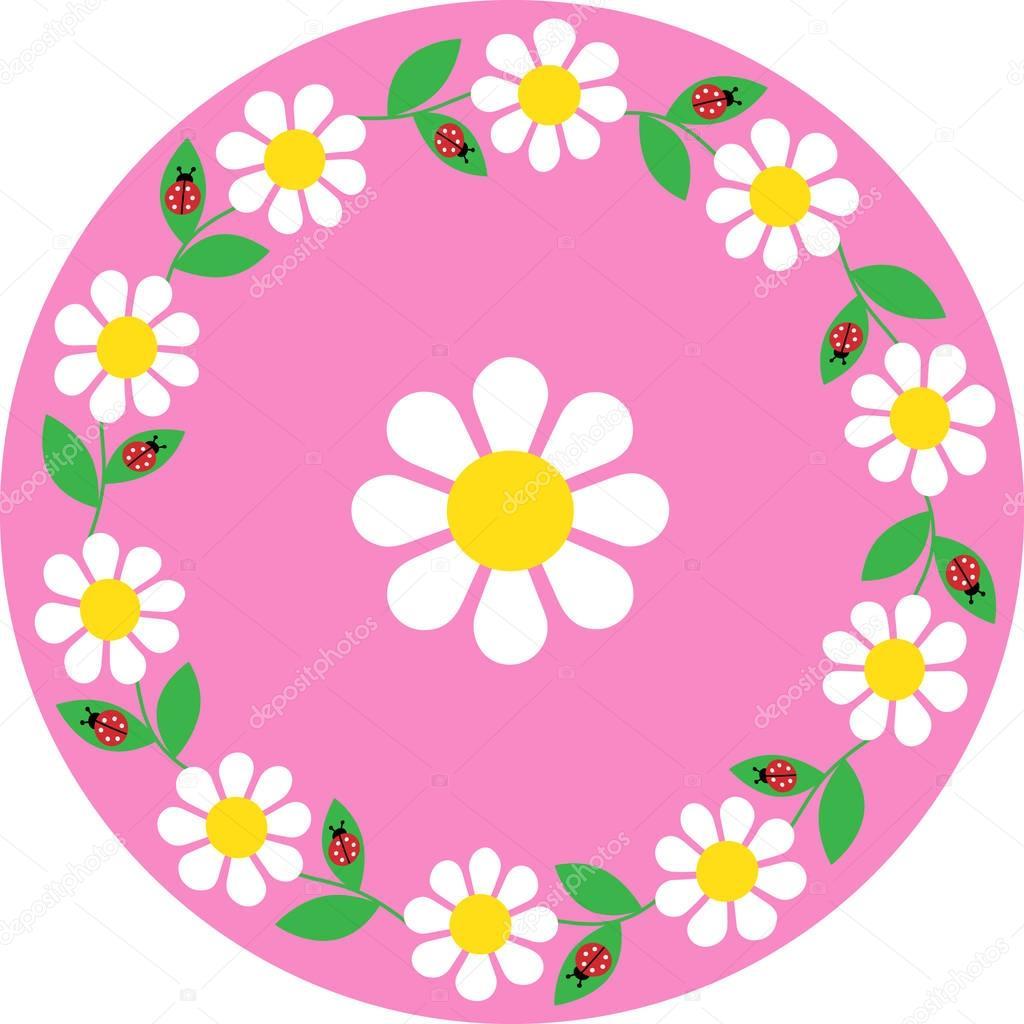 daisy ladybug circle frame