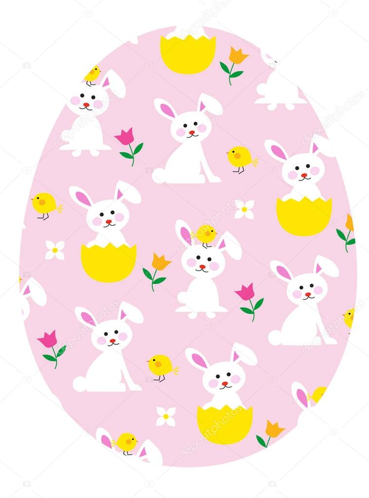 egg with bunnies and chicks