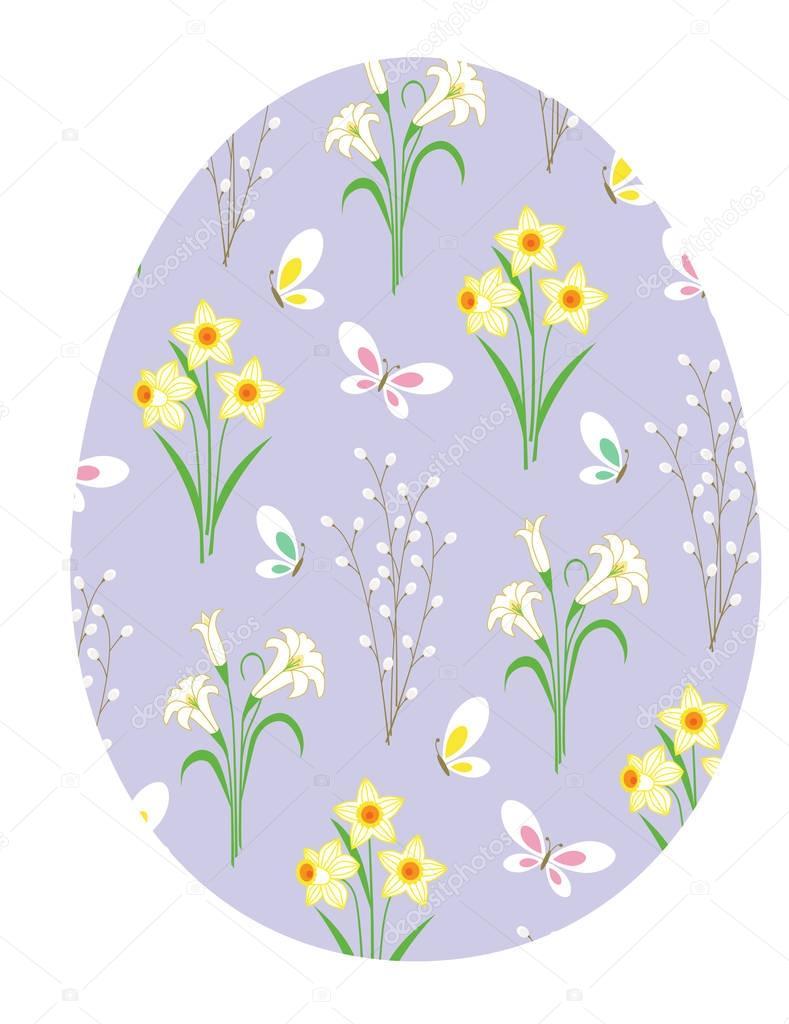 purple floral Easter egg