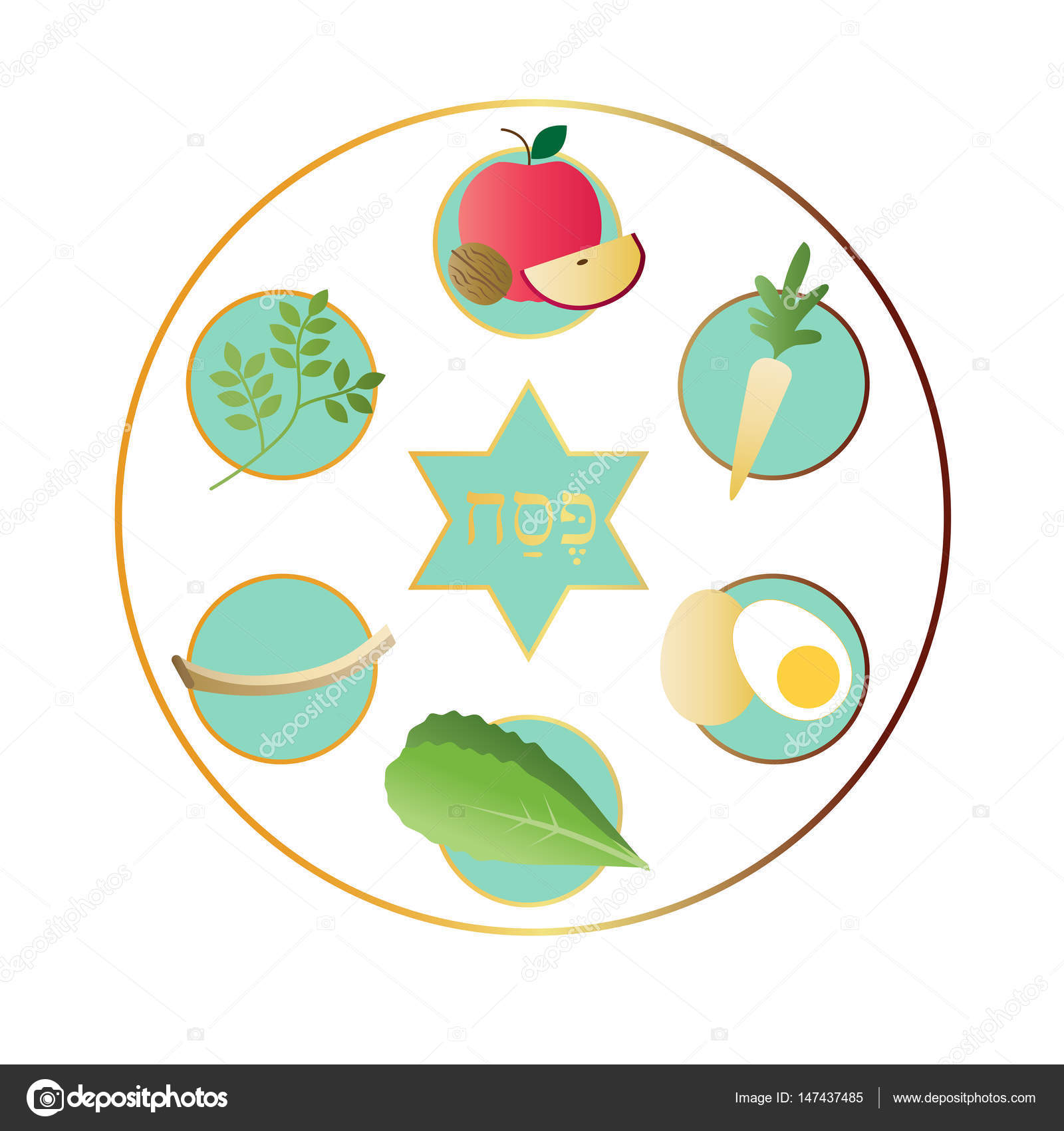 White Passover Plate With Food Stock Vector Scrapster 147437485