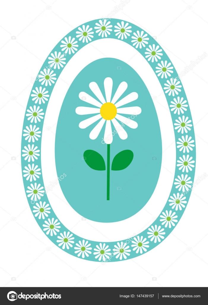Margarita en el marco de huevo azul turquesa — Vector de stock ...
