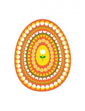 orange yellow easter egg with tulips