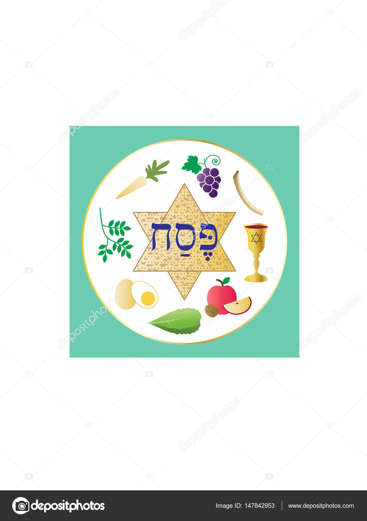 Happy Passover Seder Plate Stock Vector Scrapster 147842953