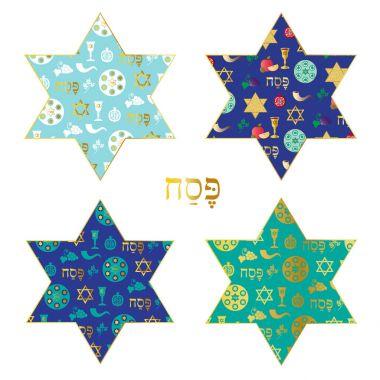 passover icons on patterns Jewish stars