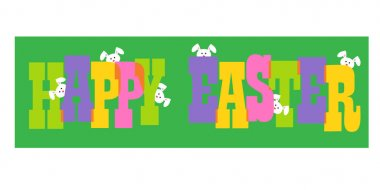 colorful inscription happy easter with bunnies