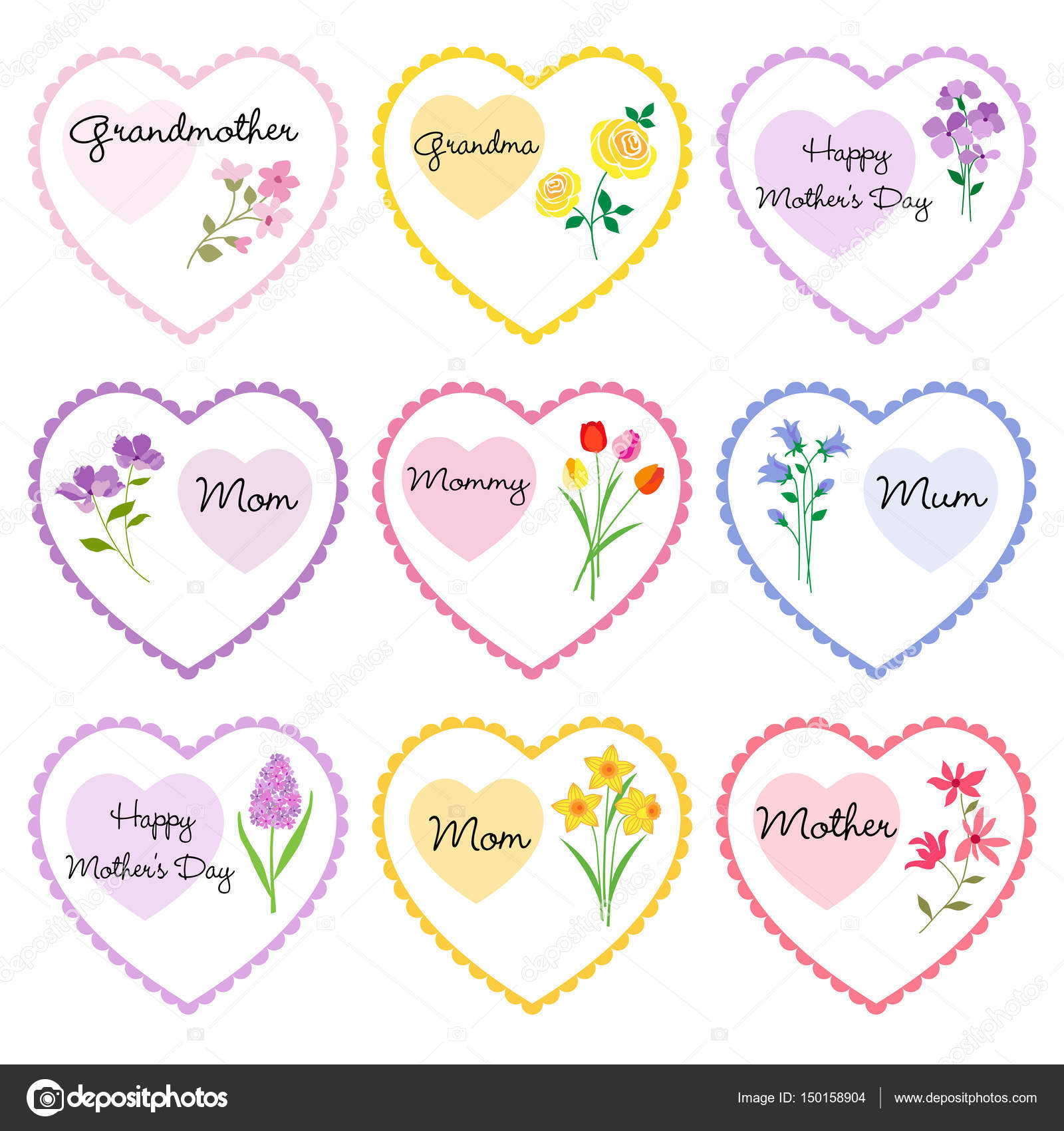 Mothers day heart frames — Stock Vector © scrapster #150158904
