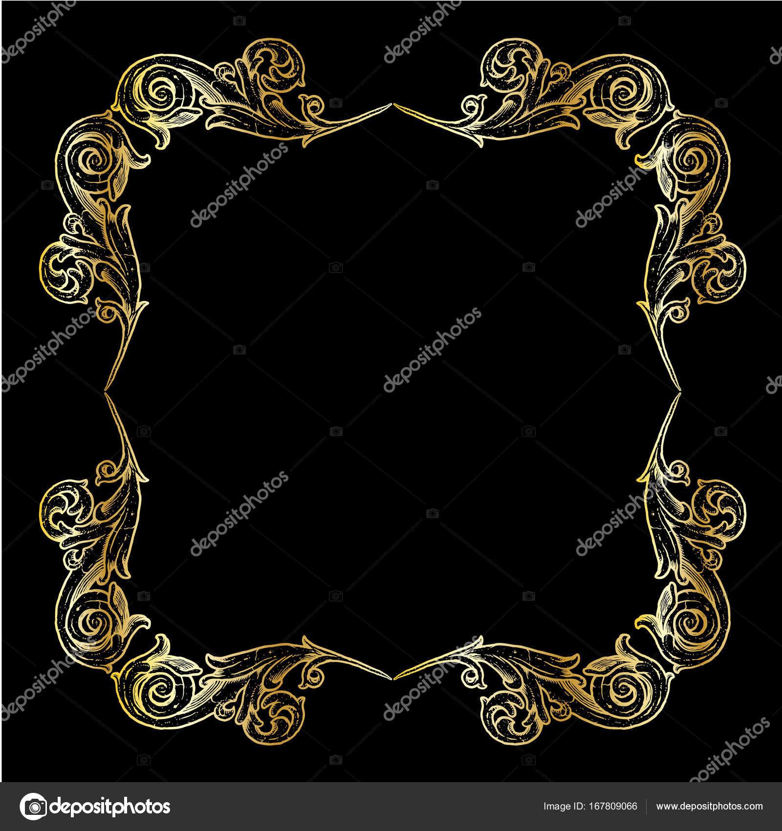 marco cuadrado adornado de oro pergamino — Vector de stock ...