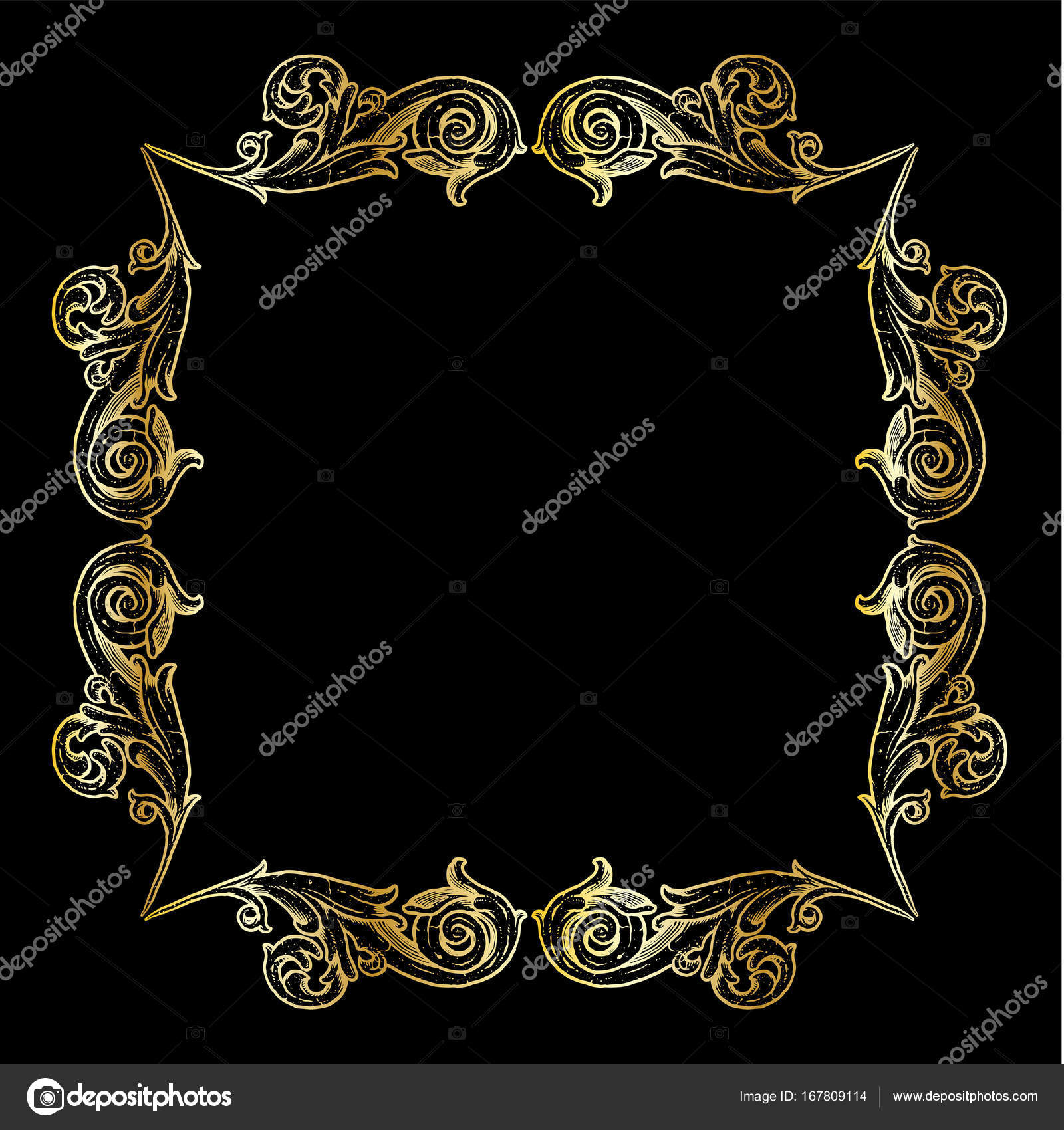 marco ornamentado rollo oro — Archivo Imágenes Vectoriales ...