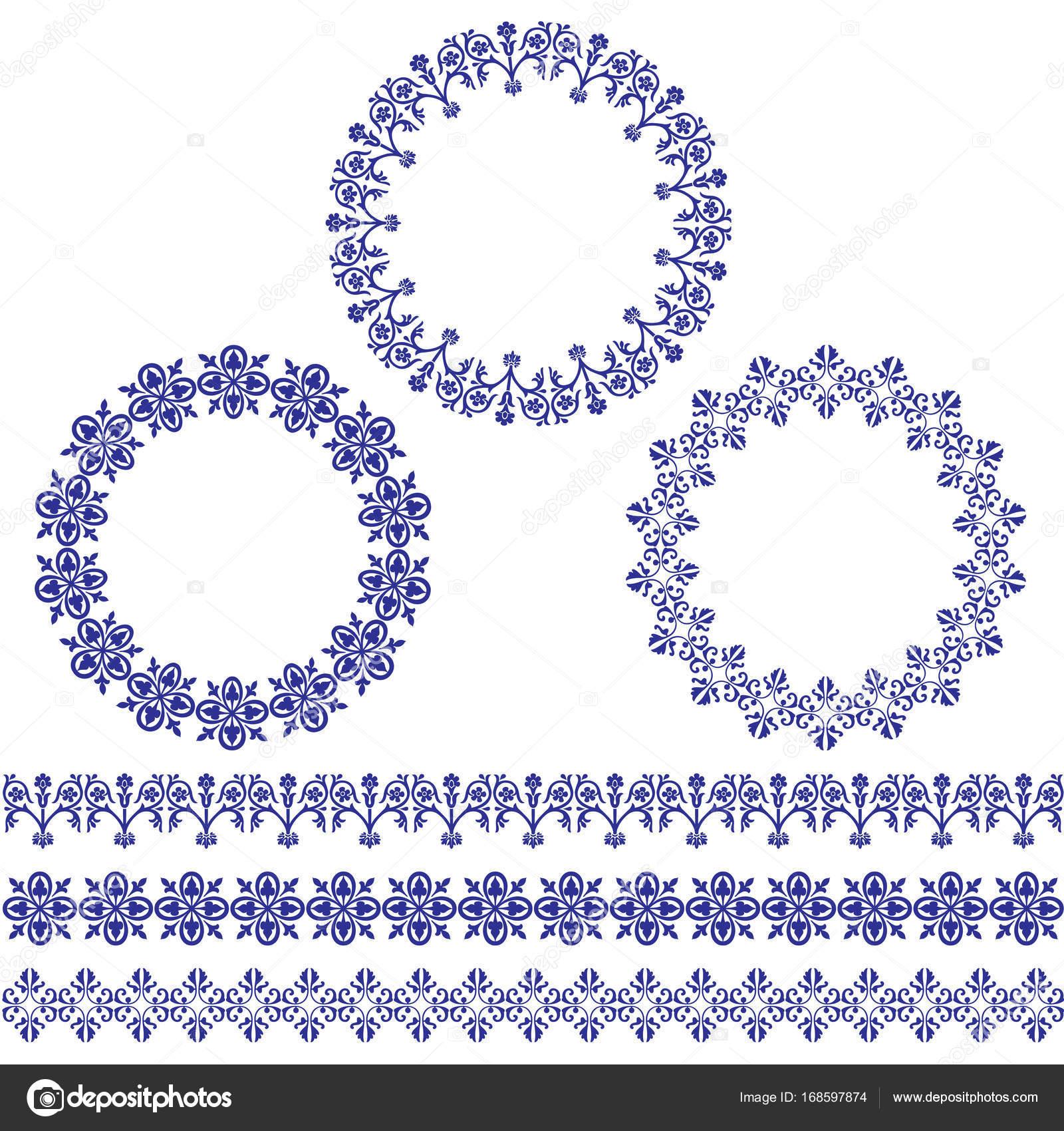 azul Marcos círculo y patrones de la frontera — Archivo Imágenes ...