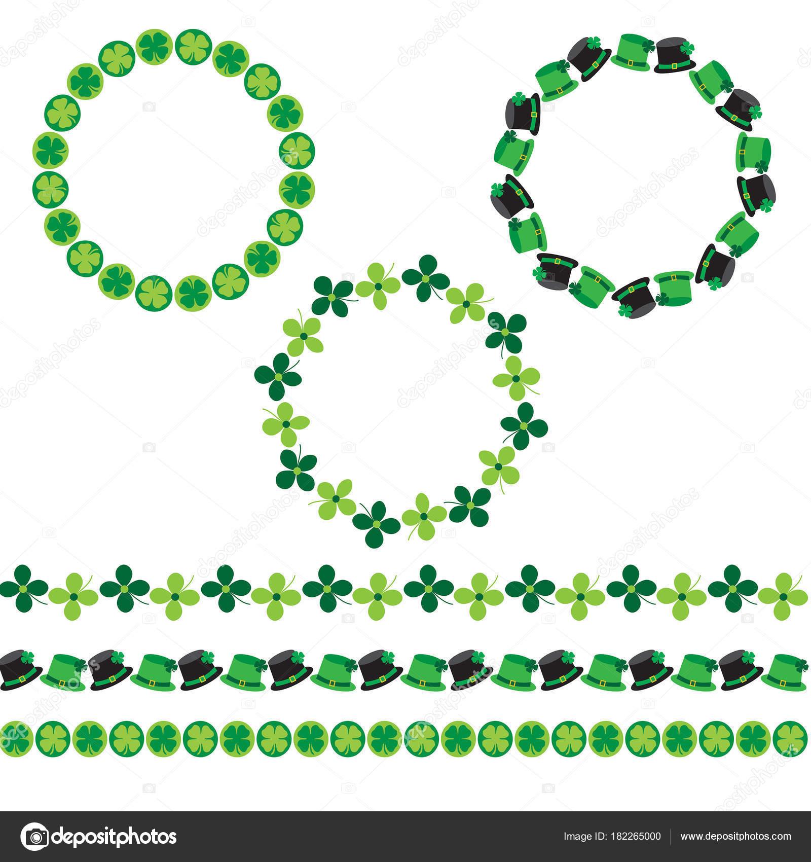 Saint Patricks Day Circle Frames Border Patterns Stock Vector