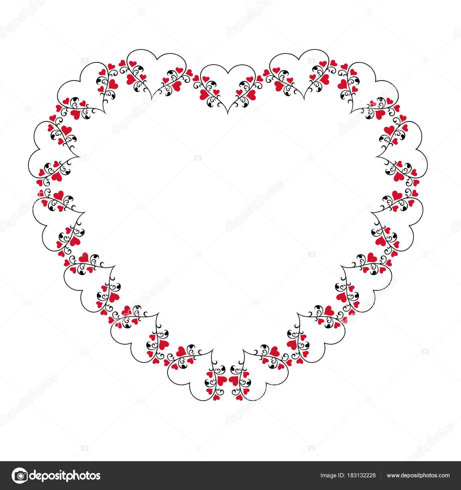 Schwarze Und Rote Herzen Mit Reben Rahmen — Stockvektor © scrapster ...
