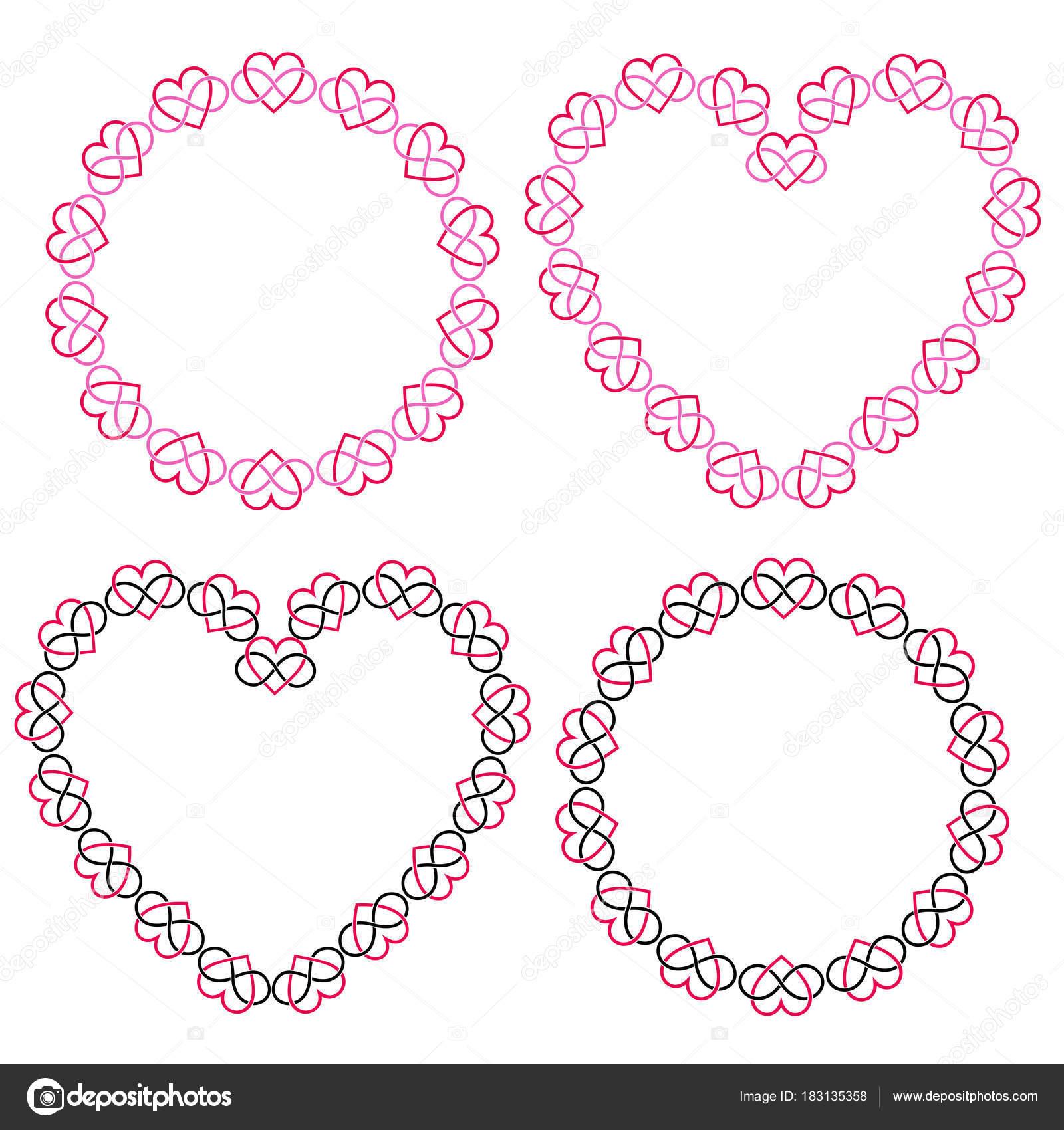 Ineinander Greifenden Herz Rahmen Clipart Set — Stockvektor ...