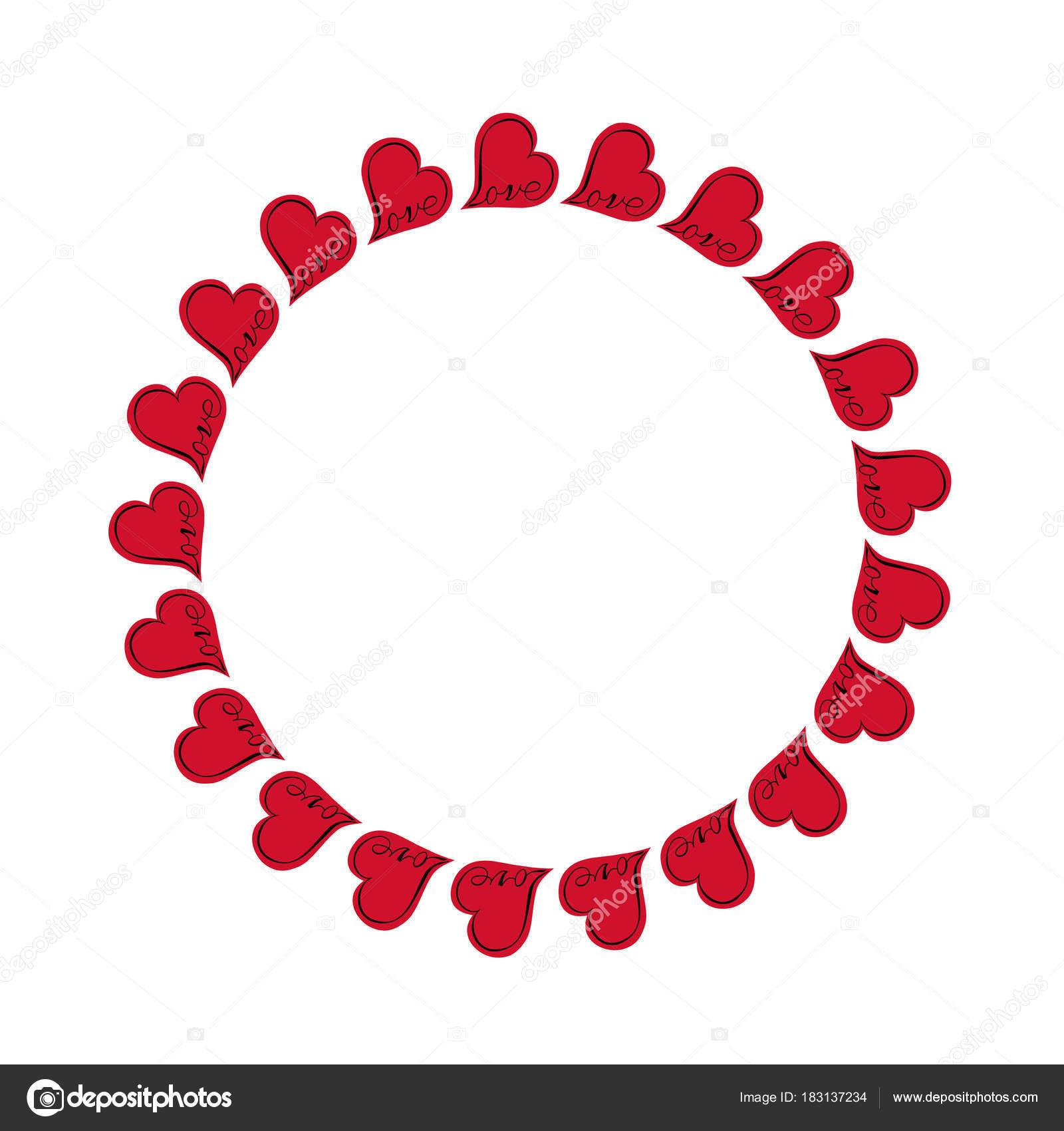 Rote Herzen Mit Liebe Kreis Rahmen — Stockvektor © scrapster #183137234