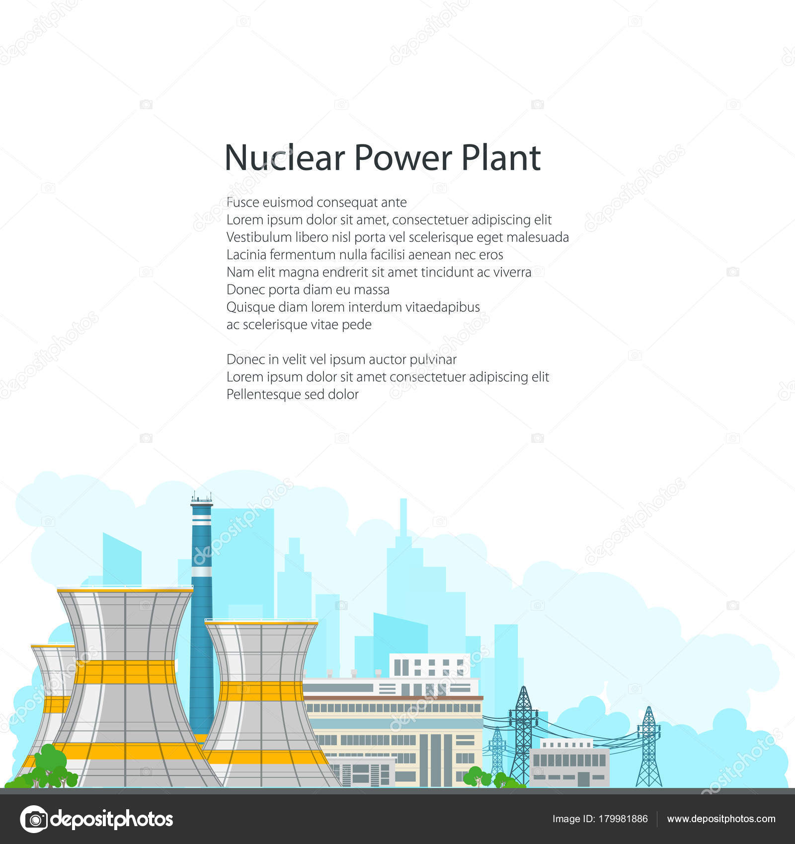 Brochure nuclear power plant on white background stock vector nuclear power plant on the background of the city thermal station and text nuclear reactor and power lines on white background poster brochure flyer ccuart Choice Image