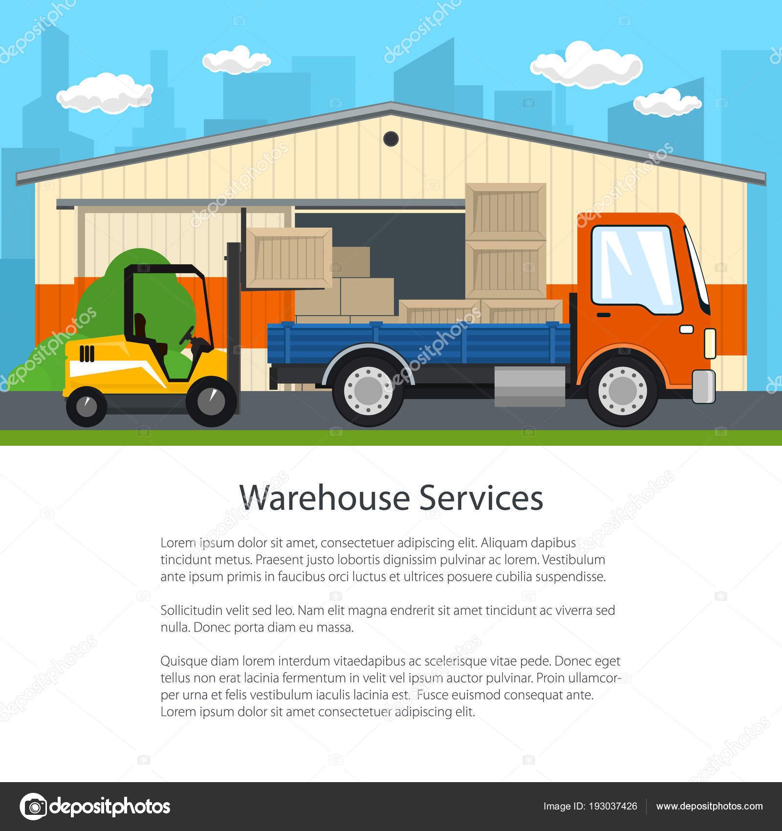 Forklift Unloads Boxes From A Truck Stock Vector C Serz72 193037426