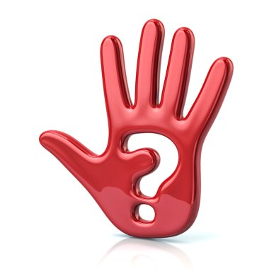 red hand and question mark