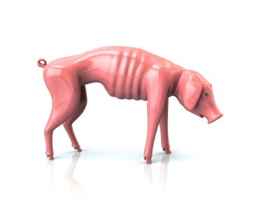 3d illustration of skinny piggy bank